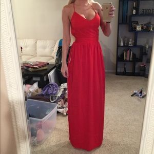 Bright Red Criss-Cross Backless Maxi Dress
